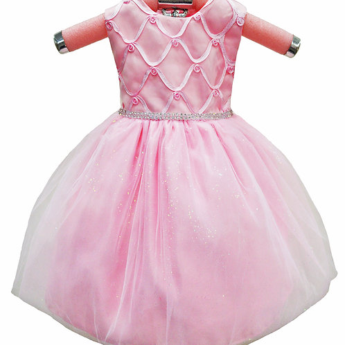 66-307T Toddlers Girls' Embroidered Glittered Organza Flower Dress