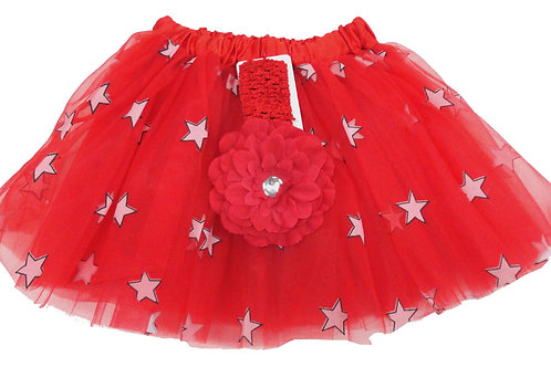 T753L  Girls' Star Tutu with Head Band and Flower