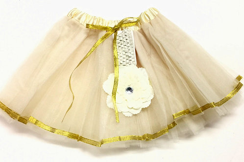 T158 Girls' Tutu with Head Band and Flower