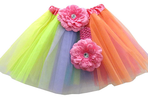 T226  Girls'  Tutu with Head Band and Flower