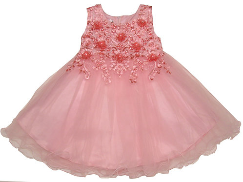 94-412X Girls' (4-6X) Tulle  Embroidered  Dress
