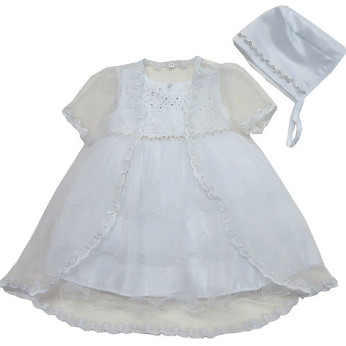 72-153 Elegant Bridal Satin Christening Gown with Jacket and Bonnet