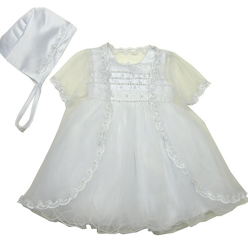 66-404 Elegant Bridal Satin Christening Gown with Jacket and Bonnet