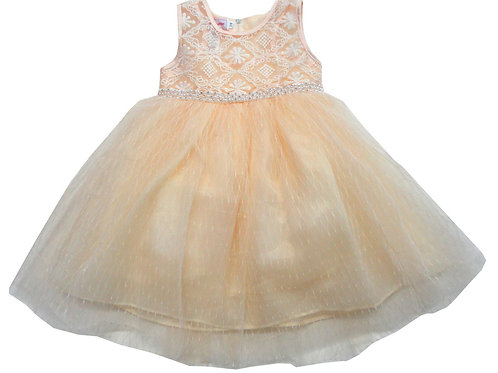 85-06L Girls' (4-14) Tulle  Embroidered  Dress