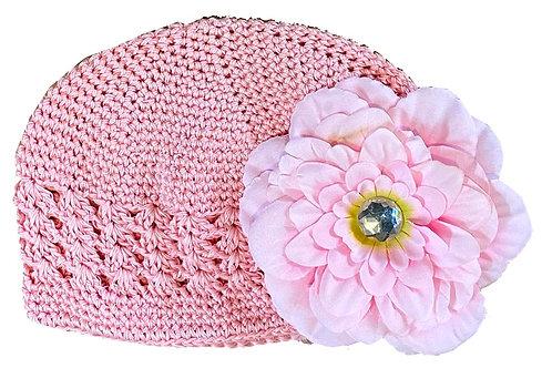 T105 Girls' Pink Crochet Hat