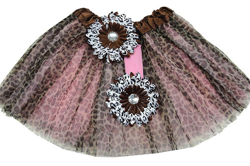 T212 Girls' Cheetah Tutu with Head Band and Flower