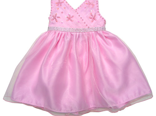 66-400X Girls' (4-6X) Organza Embroidered Beaded Dress