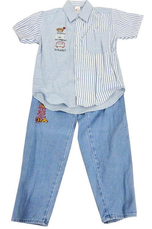 1-401  Boys' Blue Shirt Set