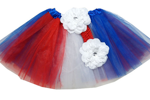 T611L  Girls' Flag Tutu with Head Band and Flower