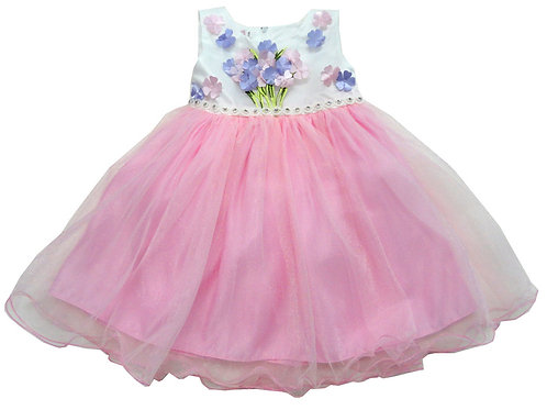 84-610X Girls' (4-6X) Tulle  Embroidered  Dress