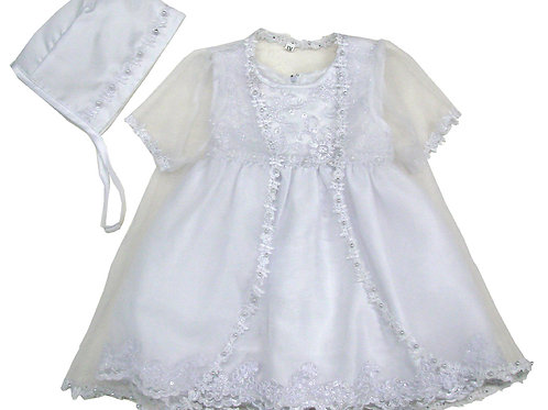 94-501 Elegant Bridal Satin Christening Gown with Jacket and Bonnet