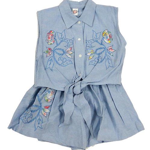 2-502  Girls' Blue Shorts set