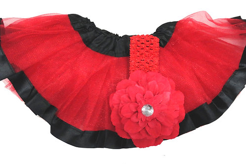 T732B Infant'  Tutu with Head Band and Flower