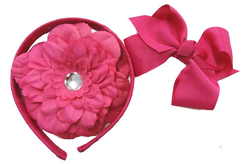 T346 Girl Satin Rosette Adjustable Headband