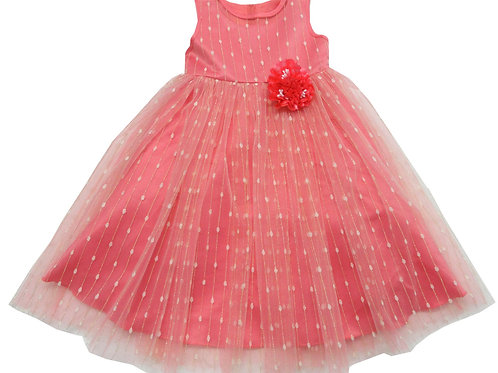 84-606X Girls' (4-6X) Tulle  Embroidered  Dress