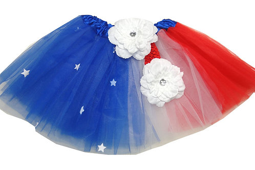 T613L  Girls'  Flag w/Star Tutu with Head Band and Flower