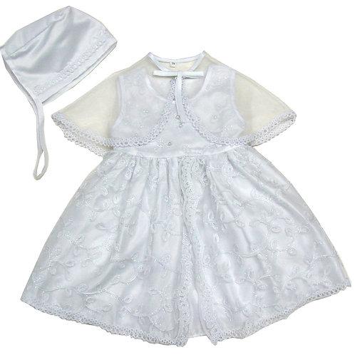 94-502 Elegant Bridal Satin Christening Gown with Organza Cape ane Bonnet