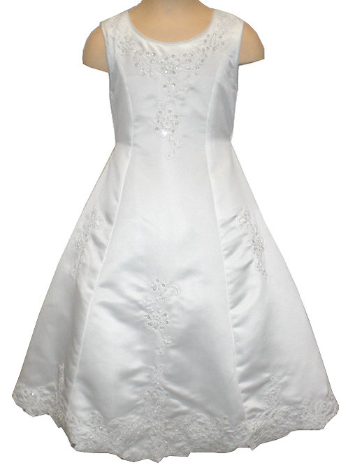 02-944 Girls' Embroidered Satin Flower Girl & Communion Dress