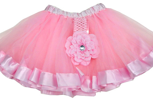 T736  Girls'  Tutu with Head Band and Flower