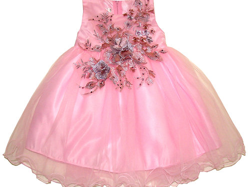 94-615X Girls' (4-6X) Tulle  Embroidered  Dress