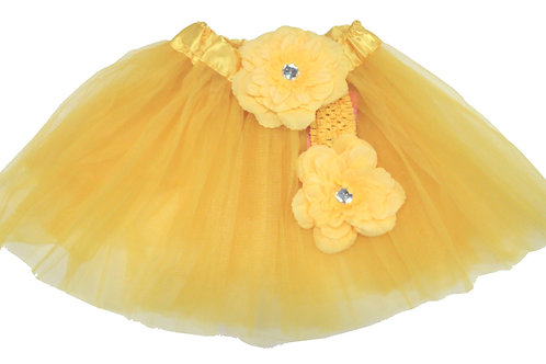 T214 Girls'  Tutu with Head Band and Flower