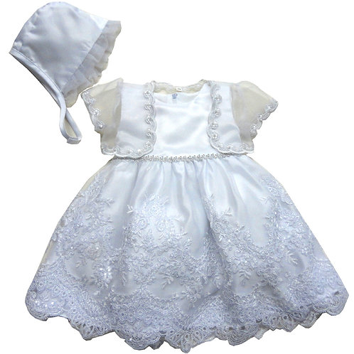 67-805 Elegant Bridal Satin Christening Gown with Organza Bolero and Bonnet