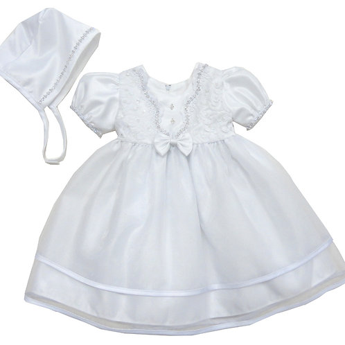 67-802 Elegant Bridal Satin Christening Gown with Hat