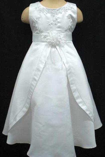 02-943 Girls' Embroidered Satin Flower Girl & Communion Dress