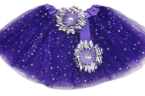TW312  Girls' Star Tutu with Head Band and Flower