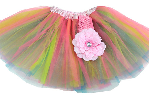 T608  Girls'  Tutu with Head Band and Flower