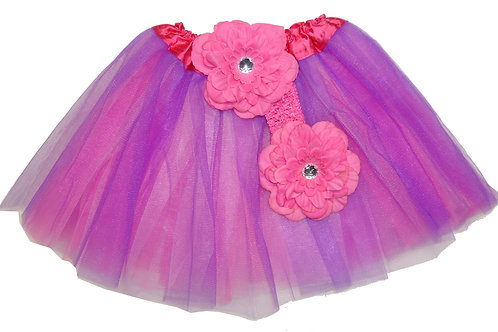 T605  Girls'  Tutu with Head Band and Flower