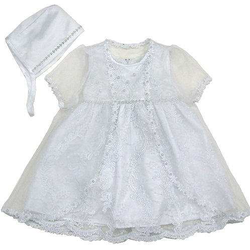 94-503 Elegant Bridal Satin Christening Gown with Jacket and Bonnet