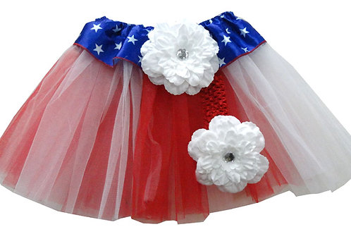 T227B Infant' Flag Tutu with Head Band and Flower
