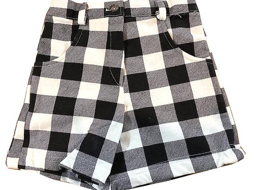 #46 Girls' Black Checker  Shorts