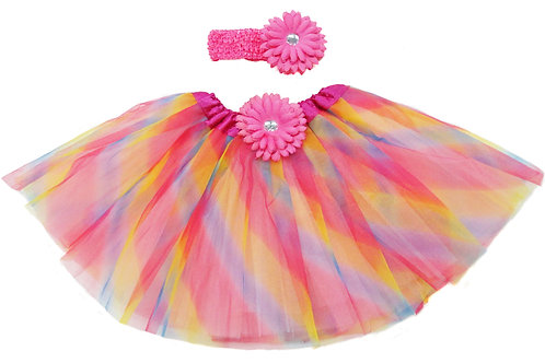 T206L Girls'  Tutu with Head Band and Flower