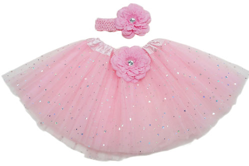 TW125PK Girls' Star Tutu with Head Band