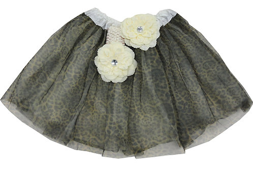 T210L-C Girls' Cheetah Tutu with Head Band and Flower