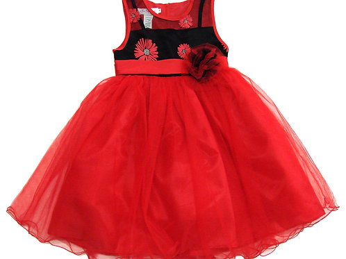 94-416X Girls' (4-6X) Tulle  Embroidered  Dress