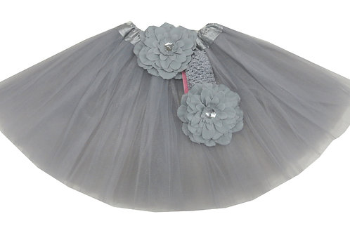 T215 Girls'  Tutu with Head Band and Flower
