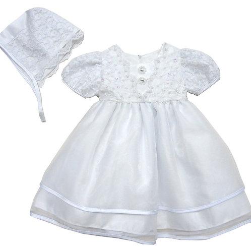 67-801 Elegant Bridal Satin Christening Gown with Hat