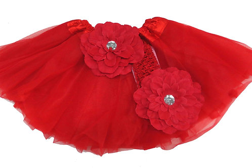 T201 Girls'  Tutu with Head Band and Flower