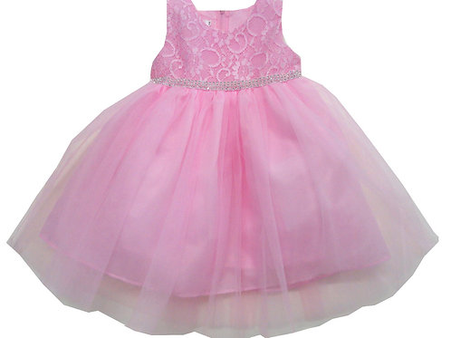 85-04L Girls' (4-14) Tulle  Embroidered  Dress