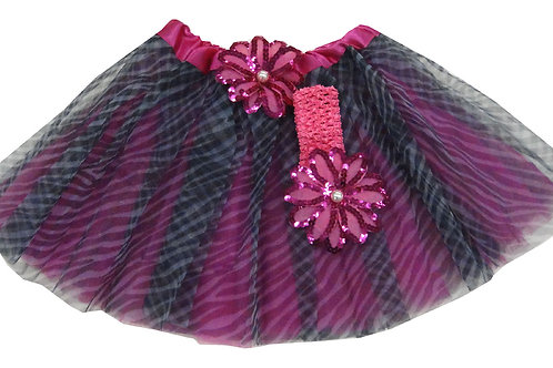 T211 Girls' Zebra Tutu with Head Band and Flower