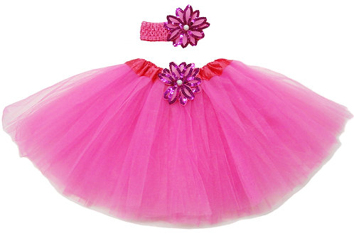 T203L Girls'  Tutu with Head Band and Flower