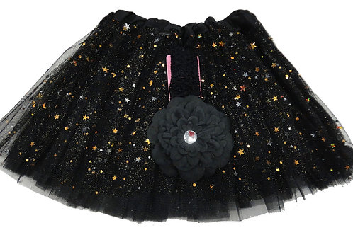 T807BK  Girls' Star Tutu with Head Band and Flower