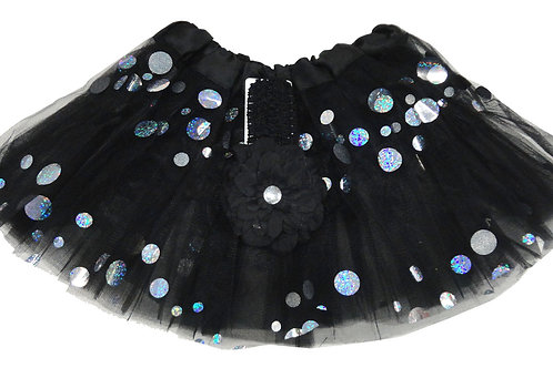 T760  Girls' Spots Tutu with Head Band and Flower