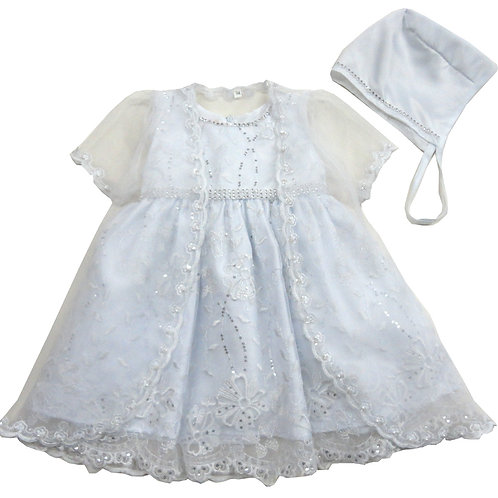 84-653 Elegant Bridal Satin Christening Gown with Jacket and Bonnet