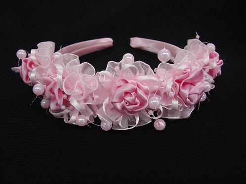 V-62 Girl Satin Rosette Headband