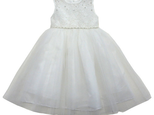 85-02L Girls' (4-14) Tulle  Embroidered  Dress