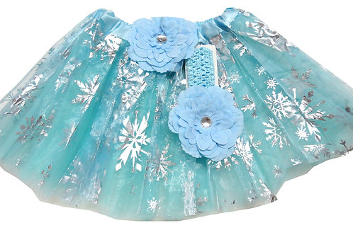 TC-314L  Girls' Snow Tutu with Head Band and Flower